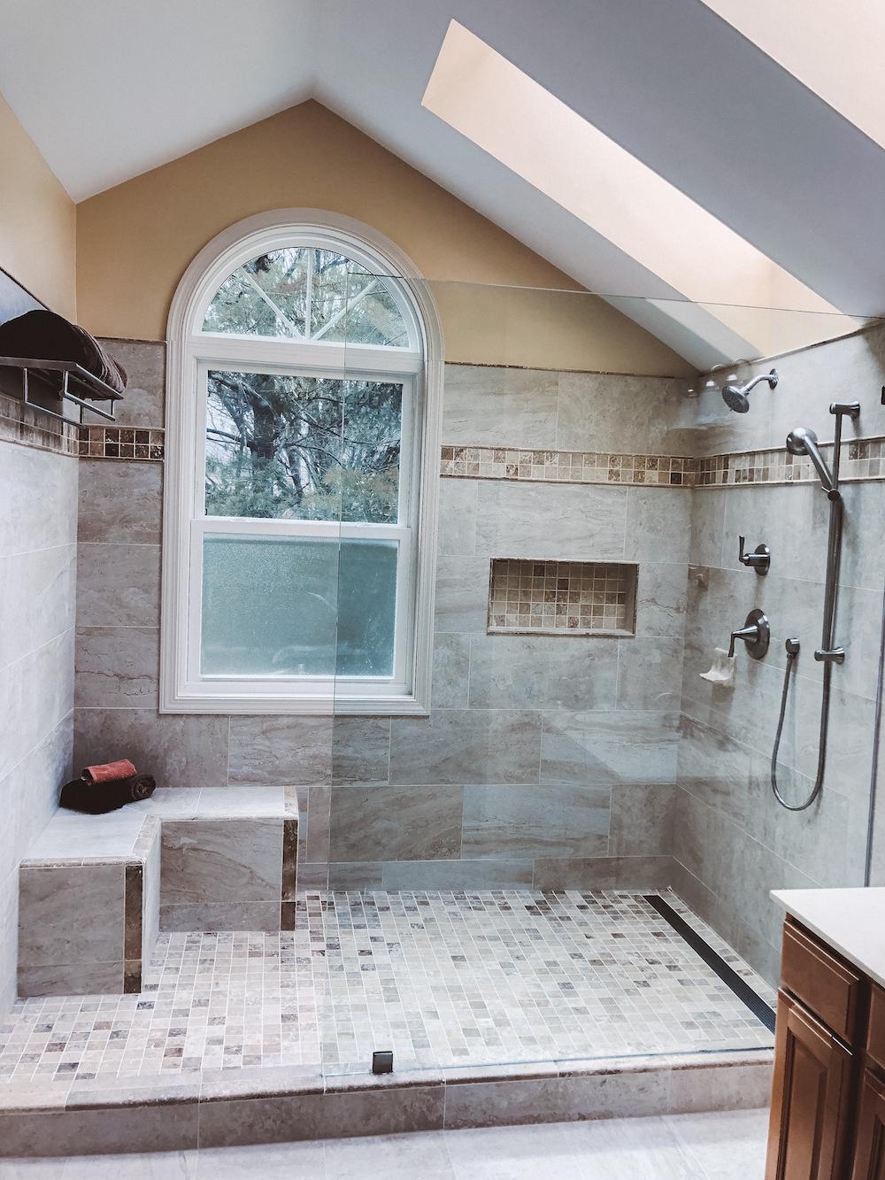 Bathroom renovation with skylight