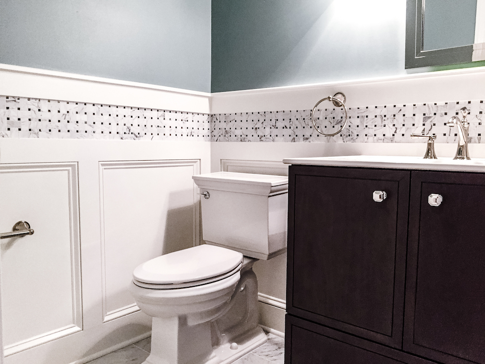 Blue and white Bathroom remodel herndon