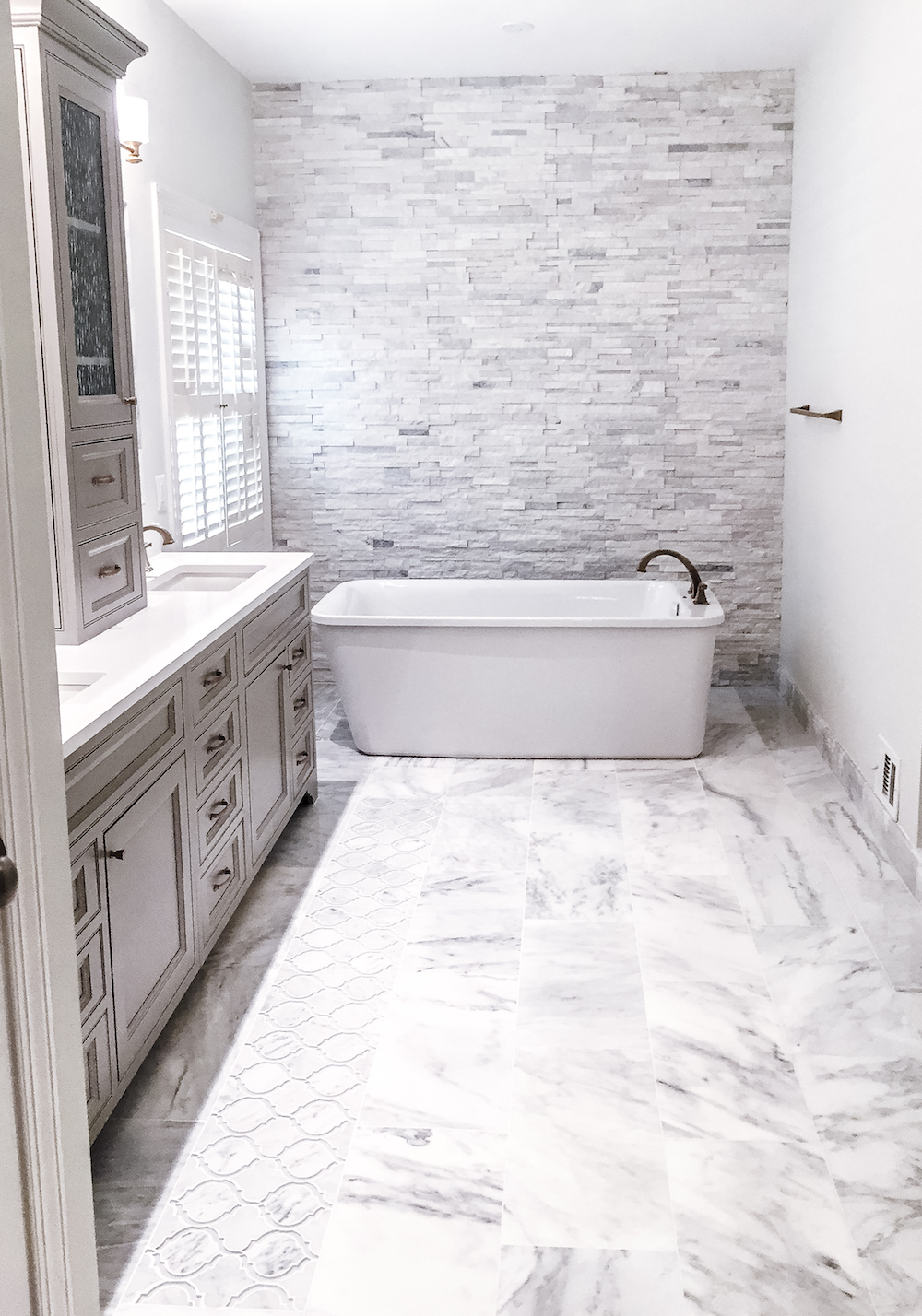 Grey modern Bathroom remodel herndon